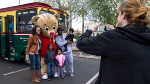 Daniel Tiger and a family at Arizona PBS KIDS Day 2017