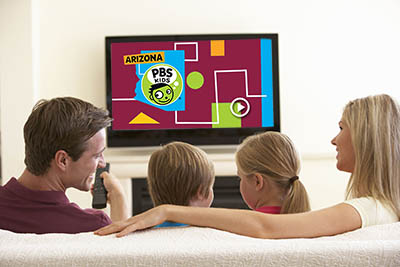 A family watches Arizona PBS KIDS.