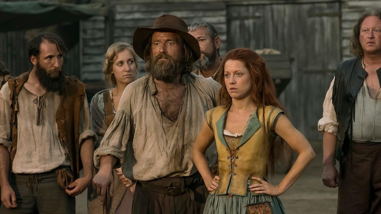 Dean Lennox Kelly as Meredith Rutter and Niamh Walsh as Verity Bridges.