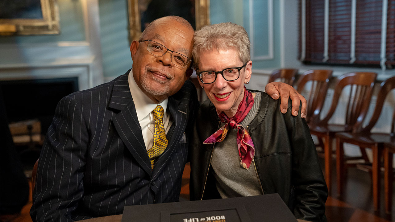 Host Henry Louis Gates, Jr. with journalist Terry Gross at the New York Genealogy society.