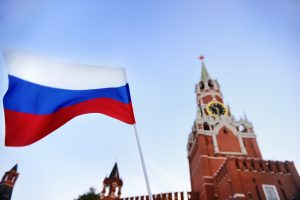 Russian flag and building