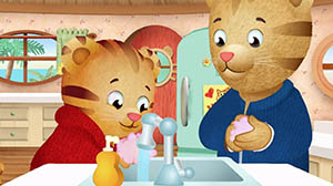 Characters from Daniel Tiger's Neighborhood washing their hands