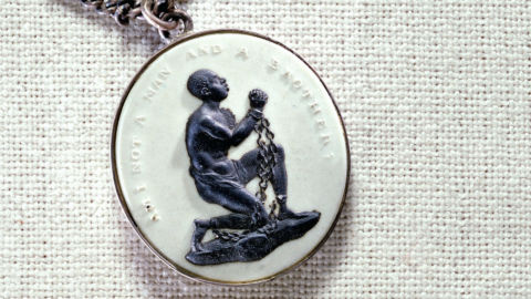 A British anti-slavery medallion created by Josiah Wedgwood & Sons some time after 1787