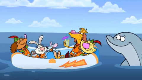Nature Cat and his friends in a boat with a dolphin