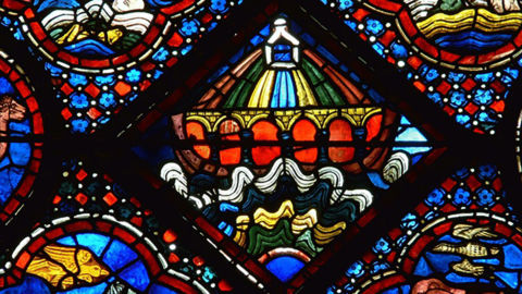 A stained glass window