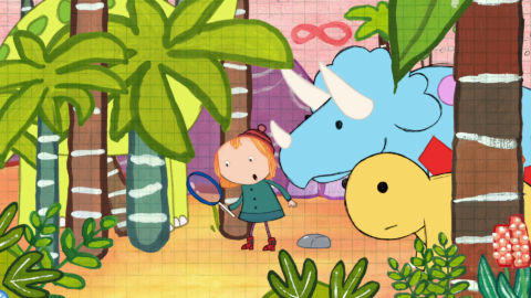 Peg and Cat meet dinosaurs