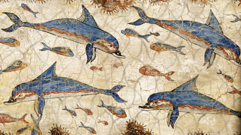 Fresco painting of dolphins