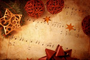 music score with holiday decorations