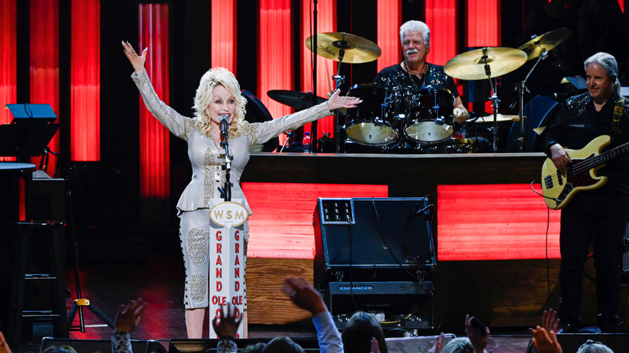 Dolly Parton onstage at the Opry