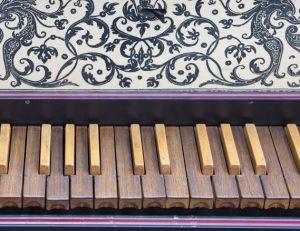 harpsichord keyboard closeup