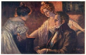 Schubert at keyboard with guests