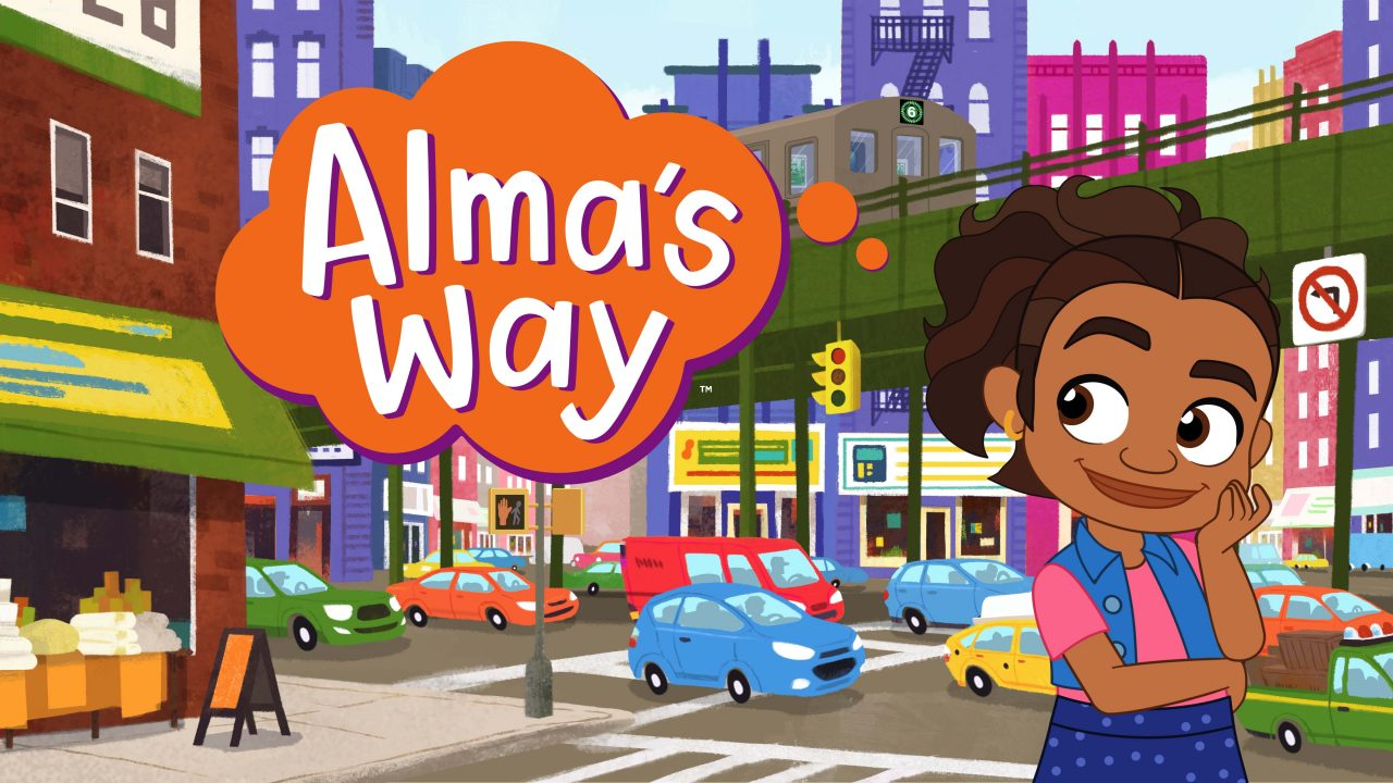 Alma's Way logo and character in front of a city background