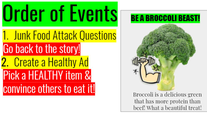 A slide titled Order of Events directs students to work on junk food attack questions and create a healthy ad. An examples shows broccoli lifting weights, titled Be a Broccoli Beast!