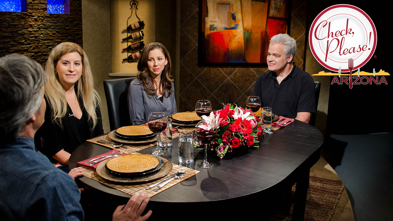 Three guests sit at the Check, Please! Arizona table on set with host Mark Tarbell.